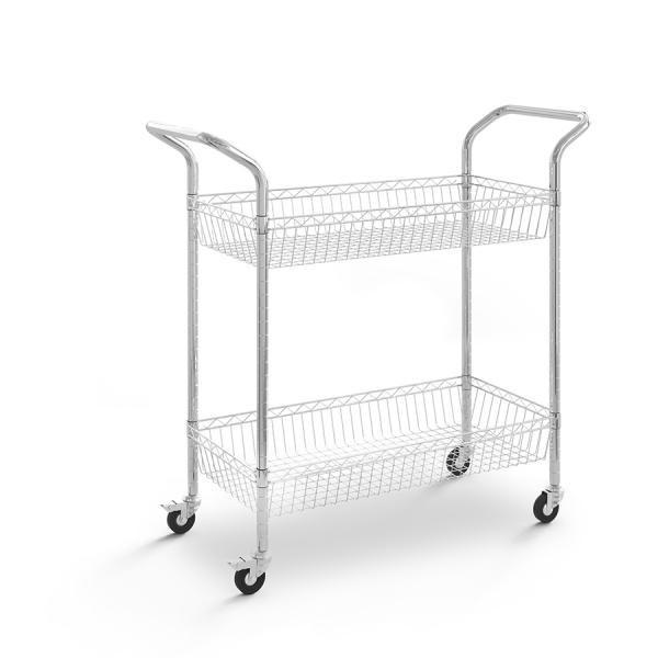 Carro de acero cromado con cesta y 2 niveles - Ruedas 75 mm
