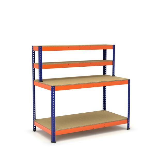 Mesa de trabajo azul y naranja con repisa y 2 bandejas de aglomerado