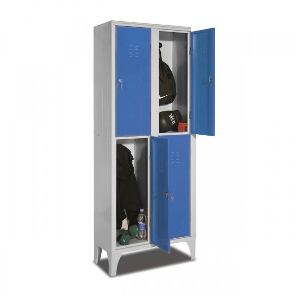 Taquilla soldada azul 2 puerta 2 cuerpos con carga
