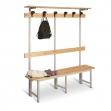 Banco de madera con perchero 2000 mm de ancho