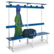 Banco de metal con perchero azul de 2000 mm de ancho