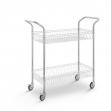 Carro de acero cromado con cesta y 2 niveles - Ruedas 100 mm