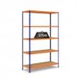 Estantería V-Max azul y naranja con baldas de aglomerado