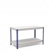 Mesa de trabajo azul y gris con 2 bandejas de melamina sin cantear