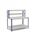 Mesa de trabajo azul y gris con repisa y 2 bandejas de melamina sin cantear