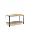 Mesa de trabajo azul y gris con 2 bandejas de aglomerado
