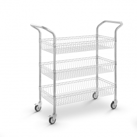 Carro de acero cromado con cesta y 3 niveles - Ruedas 100 mm