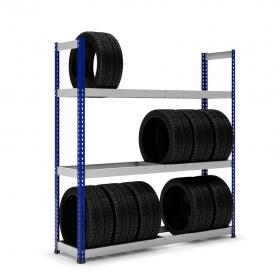 Estantería MaxPlus neumáticos con carga azul y  gris