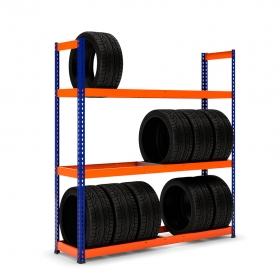 Estantería MaxPlus neumáticos con carga azul y naranja