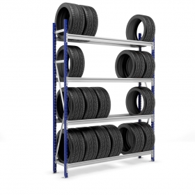 Estantería Picking neumáticos con carga azul y gris