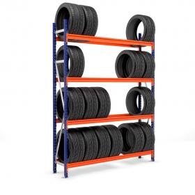 Estantería Picking neumáticos con carga azul y naranja