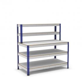 Mesa de trabajo azul y gris con repisa y 3 bandejas de melamina sin cantear