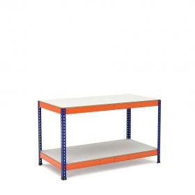 Mesa de trabajo azul y naranja con 2 bandejas de melamina sin cantear