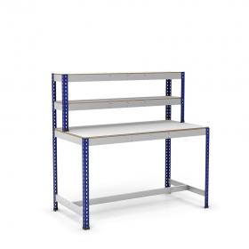 Mesa de trabajo con repisa y reposapiés azul y gris con melamina sin cantear