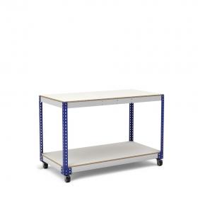 Mesa de trabajo con ruedas azul y gris con 2 baldas de melamina sin cantear